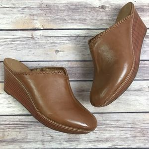 Jack Rogers Simone Leather Wedge Clogs 7.5